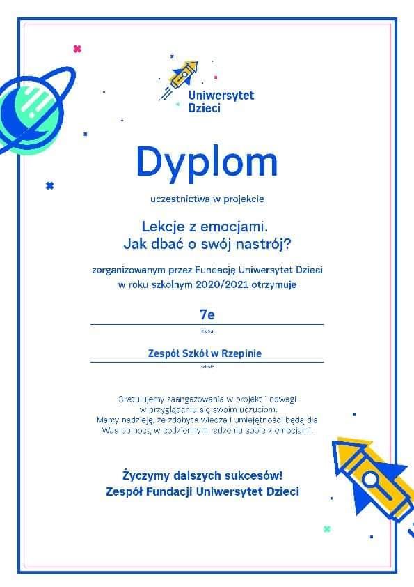 Dyplom dla klasy 7e za uczestnictwo w projekcie Lekcje z emocjami, jak dbać o swój nastrój