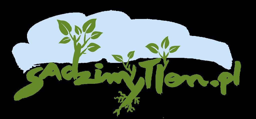 Logo akcji sadzimy tlen - napis i grafiki drzew z napisu